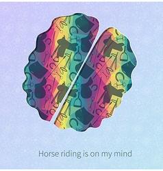 Riding horses colorful brain design vector