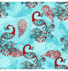 Seamless winter pattern with stylized peacocks and vector