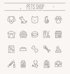 set icons for vet clinic pet shop dog vector image