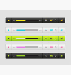 set of ux ui audio and video media player vector image