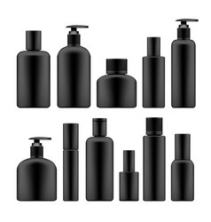simple blank black plastic cosmetic bottles set vector image