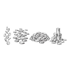 Sketch style set coins in different positions vector