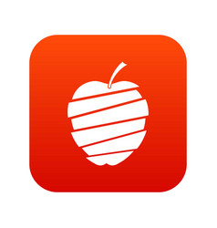 Sliced apple icon digital red vector
