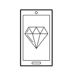 Smartphone with luxury diamond isolated icon vector