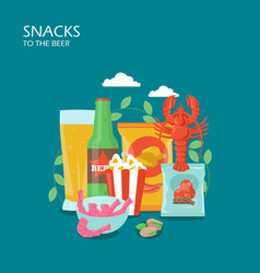 snacks to beer flat style design vector image