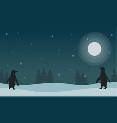 snow scenery at night with penguin silhouettes vector image