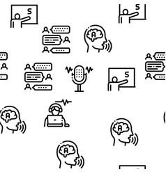 Speech therapist help seamless pattern vector