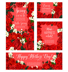 spring rose flower card for mother day holiday vector image