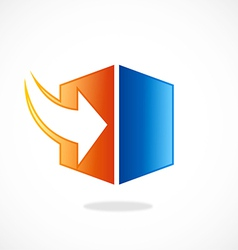 storage arrow download cube logo vector image