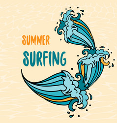 Summer surfing lettering with cartoon waves vector