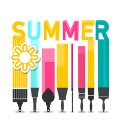 summer symbol with brushes and sun symbol vector image