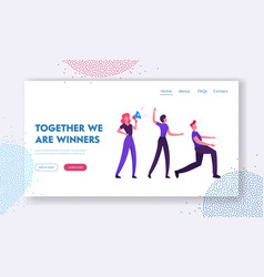 teamwork cooperation website landing page group vector image