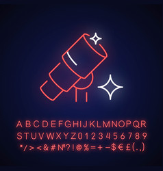 Telescope neon light icon vector