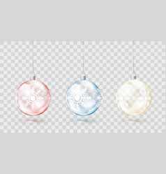 template of glass transparent christmas balls vector image