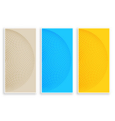 Three color circular halftone banners vector