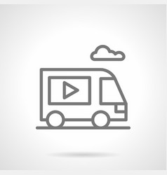 video ads on van simple line icon vector image