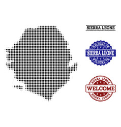 Welcome collage of halftone map of sierra leone vector