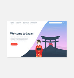 welcome to japan landing page template travel vector image
