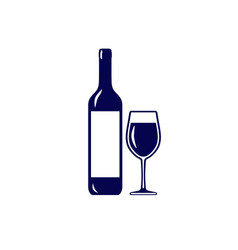 wine bottle with glass icon isolated on white vector image