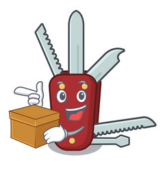 With box penknife in a character shape vector