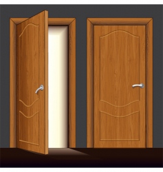 wooden door vector image
