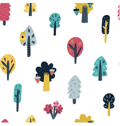 woodland seamless pattern with cute trees forest vector image