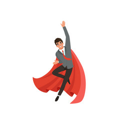 Young business man in suit red tie and superhero vector