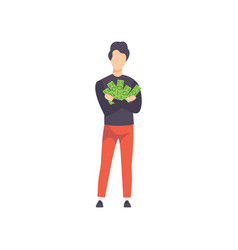 young man holding bundle of money saving and vector image