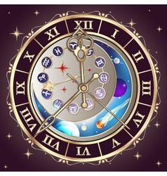 Zodiac signs astrological clock vector