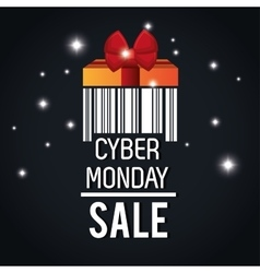 cyber monday sale barcode light black background vector image
