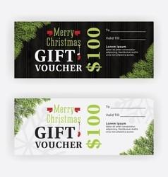 Merry christmas gift voucher certificate template vector