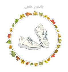 sneakers hand draw shoes autumn collection frame vector image vector image