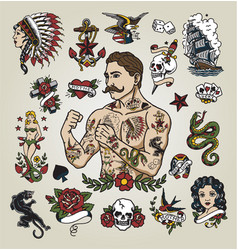 tattoo flash set with tattoo hipster man vector image vector image