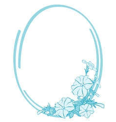 blue oval frame with flowers vector image vector image