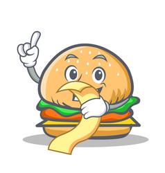 burger character fast food with menu vector image vector image