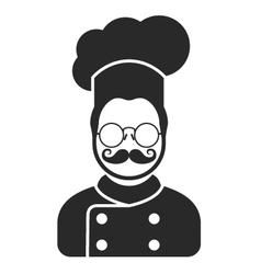 Chef cook icon - man with moustaches beard vector image vector image
