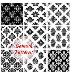 damask ornament seamless patterns set vector image vector image