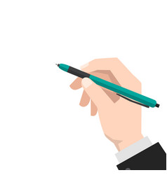 hand holds the pen vector image vector image