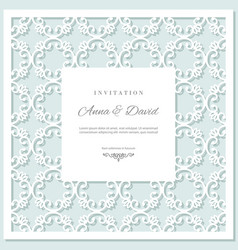 wedding invitation card template with laser vector image vector image