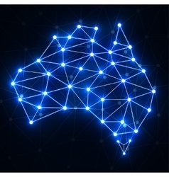 Abstract polygonal Australia map with glowing dots vector image vector image