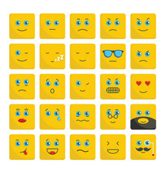 emoticons set flat icons for vector image