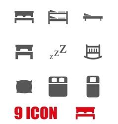 grey bed icon set vector image vector image