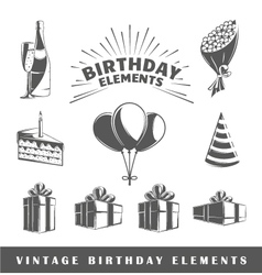 Set of elements of the birthday vector image vector image
