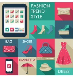 Set of flat design fashion icon for web and mobile vector image