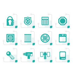 stylized security and business icons vector image vector image