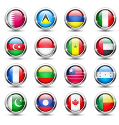 World flag glass icons vector image vector image