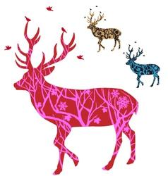 Christmas deer with birds vector image