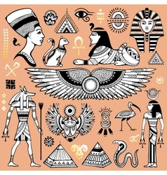 Set of isolated Egypt symbols vector image vector image