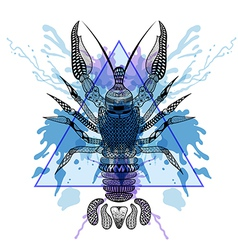 Zentangle stylized lobster crawfish in triangle vector