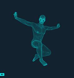 3d model of man human body wire model design vector